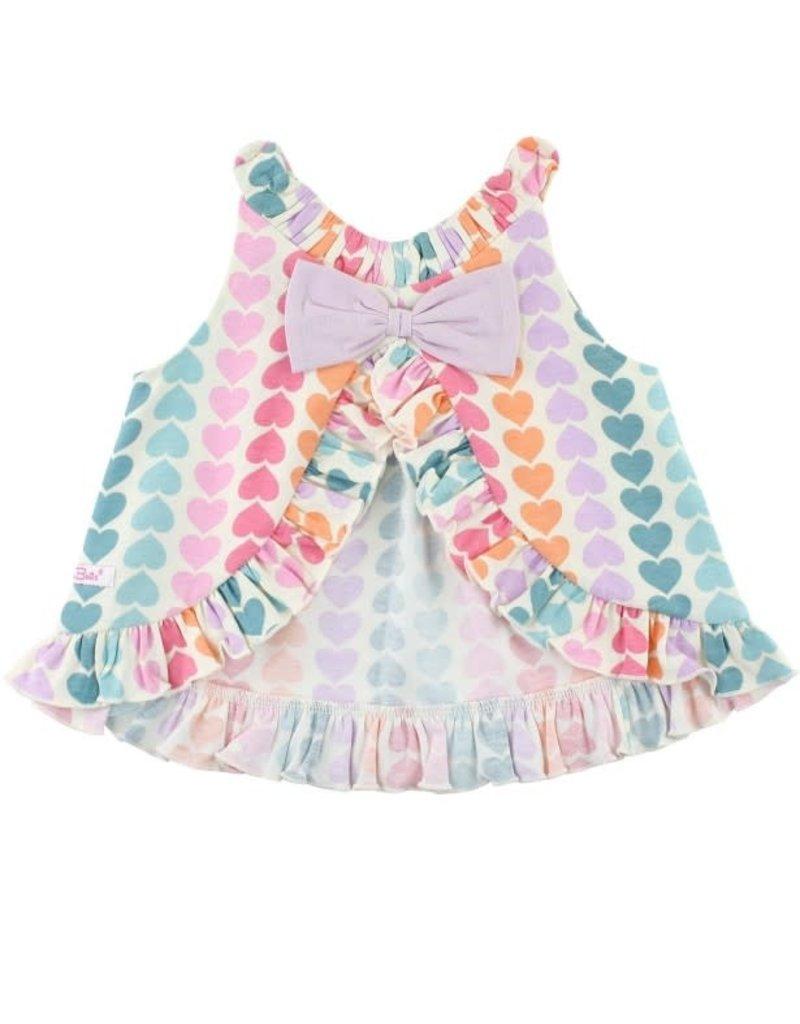 Rainbow Hearts Knit Ruffle Swing Top