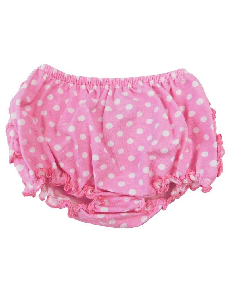 Pink Polka Dot Knit Ruffled Butt Bloomer