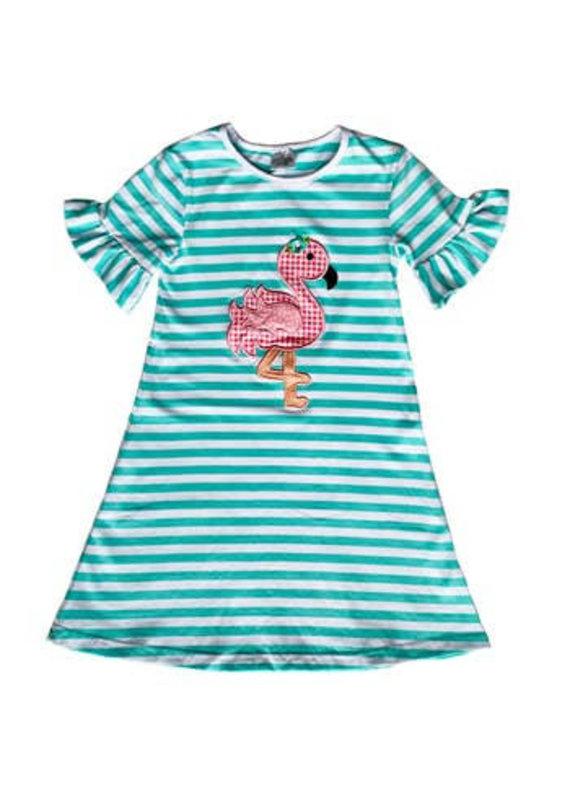 Pink Flamingo Cotton Ruffle Sleeve Dress