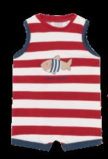 Red & White Stripe Shark Romper