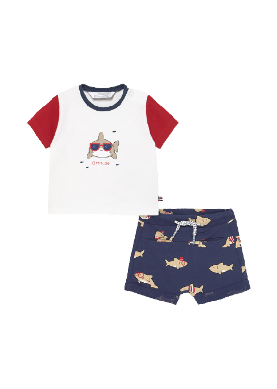 Tomato Shark Set with Shorts
