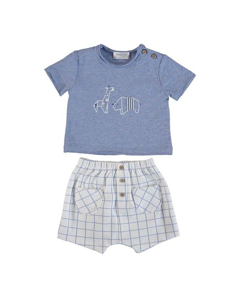 Light Blue Elephant Shirt Short Set