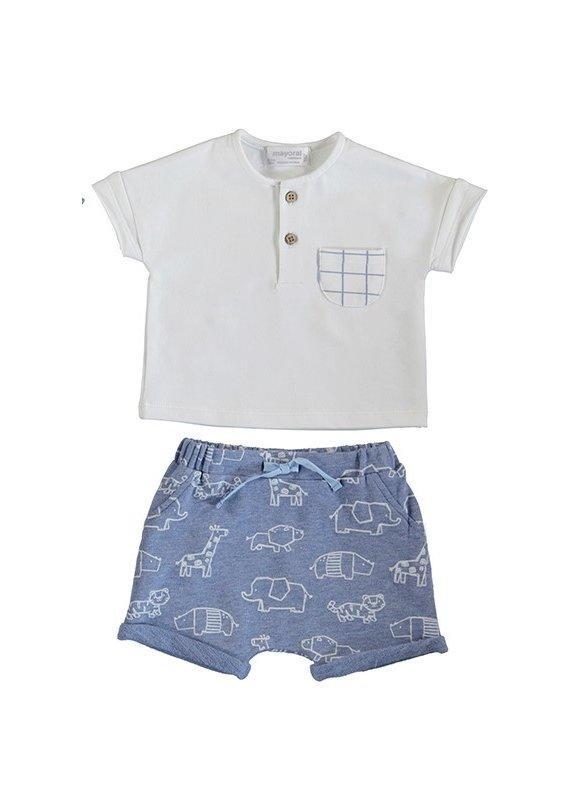White Shirt Stripe Short Set