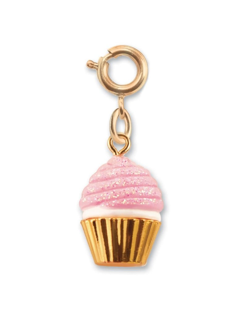CHARM IT! Gold Pink Glitter Cupcake Charm