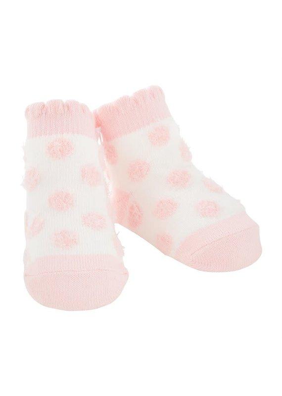 Pink Chenille Dot Socks