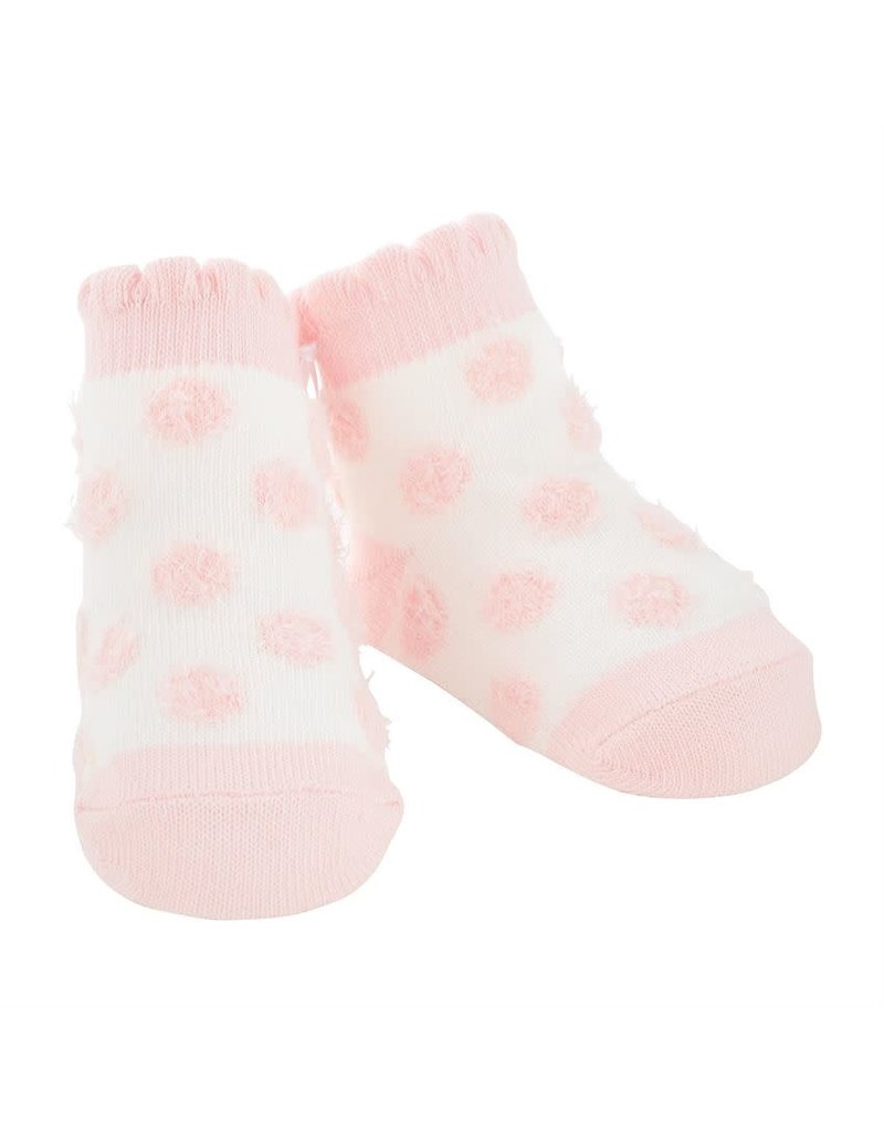 Pink Chenille Dot Socks