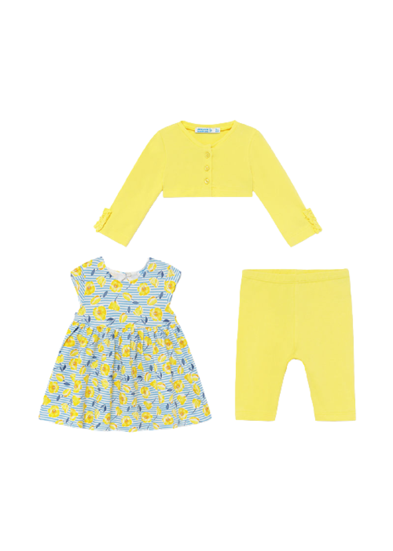 Yellow Dress Set with Cardigan and Leggings
