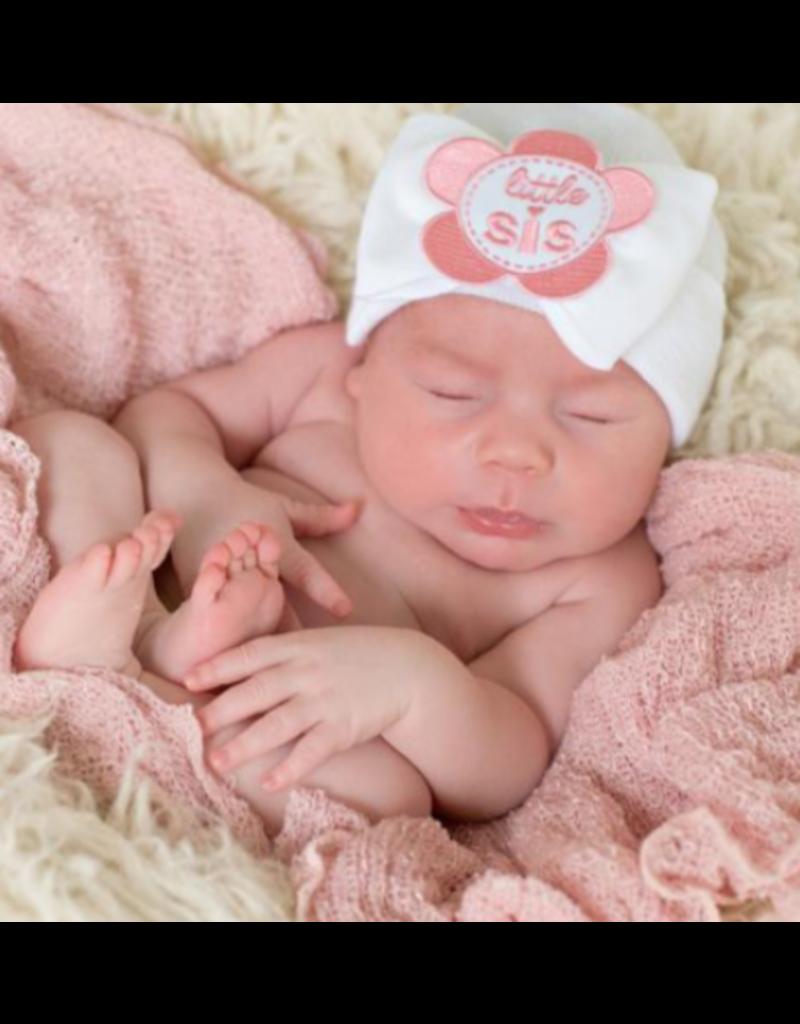 IlyBean Pink Flower Patch Little Sis Newborn Girl Hospital Hat