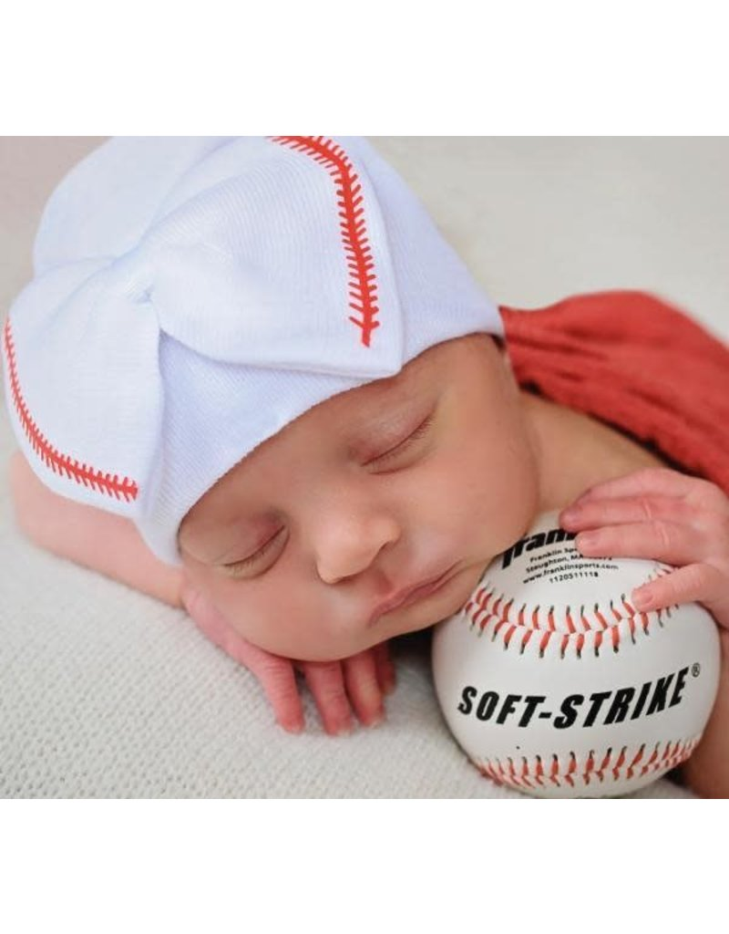 IlyBean Softball Sweetie White Newborn Girl Hospital Hat