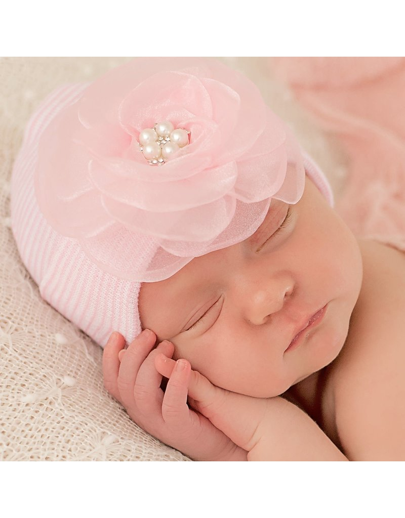 IlyBean Joyce Pink Chiffon Flower Pink and White Newborn Girl Hospital Hat