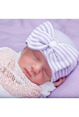 IlyBean Stella Lavender and White Stripped Bow Newborn Girl Hospital Hat