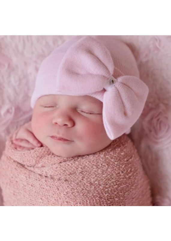 IlyBean Polly Pink Bow Newborn Girl Hospital Hat