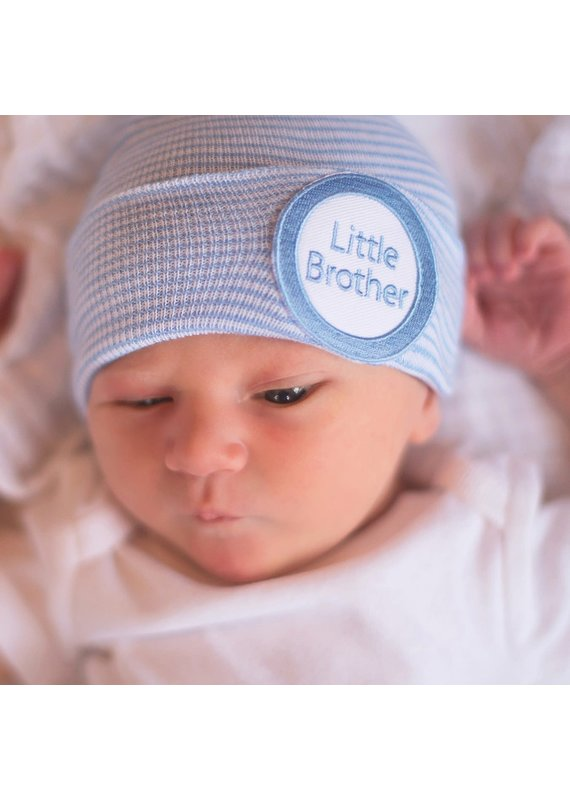 IlyBean Striped Blue and White Little Brother Newborn Boy Hospital Hat