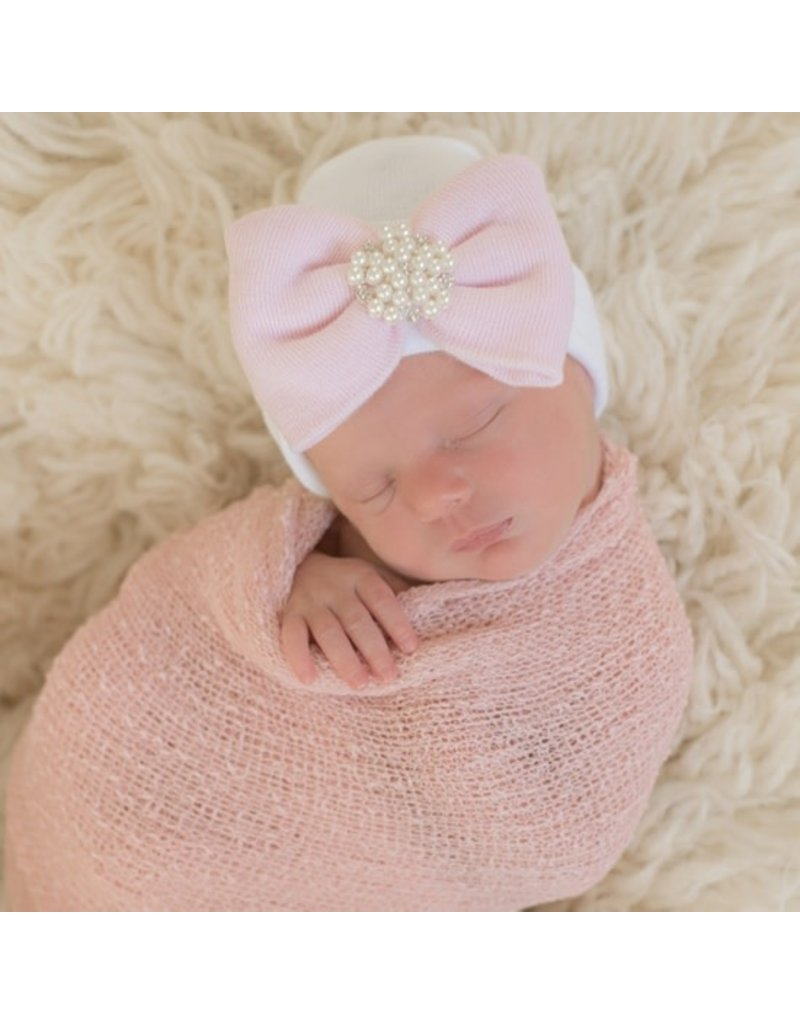 IlyBean Irene Newborn Girl Pearl Rhinestone Hospital Hat