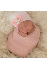 IlyBean Pink Fancy Feather Pearl Rhinestone Newborn Girl Hospital Hat