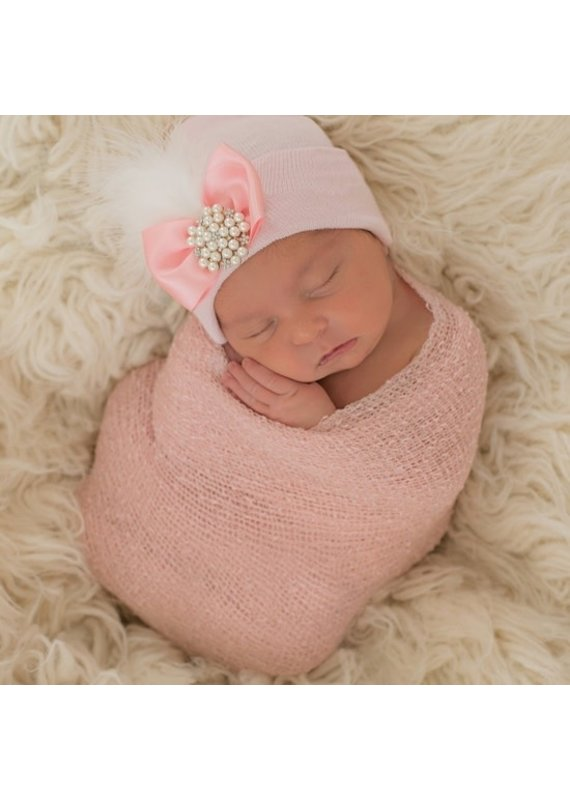 IlyBean Pink Fancy Feather Pearl Rhinestone Newborn Girl Hospital Hat