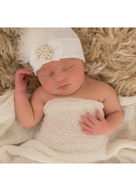 IlyBean White Fancy Feather Pearl and Rhinestone Jewel Newborn Hospital Hat