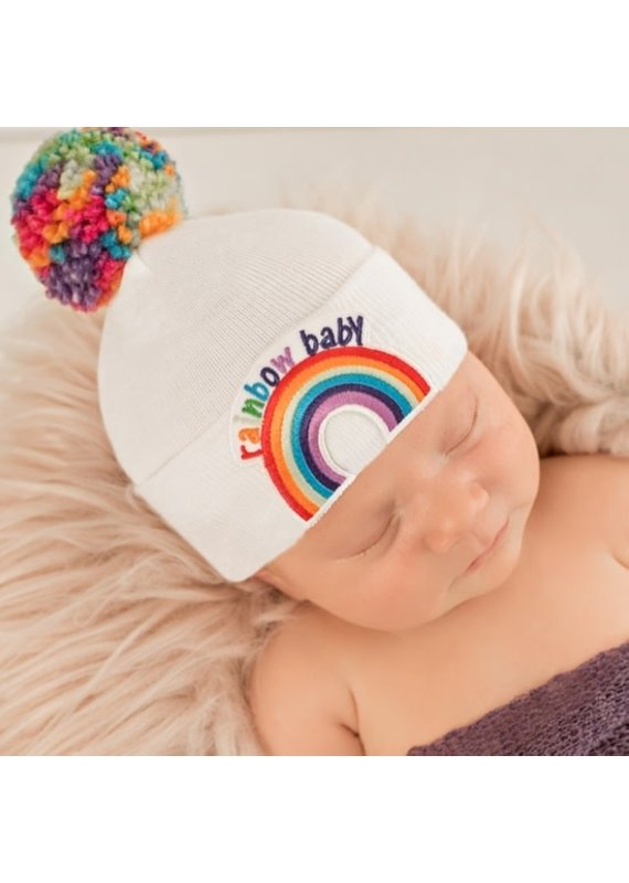 IlyBean Rainbow Pom Pom Newborn Hospital Hat