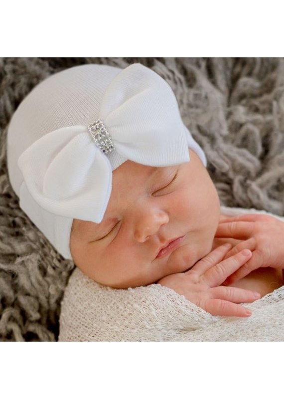 IlyBean Silver Jewel White Bow Newborn Girl Hospital Hat