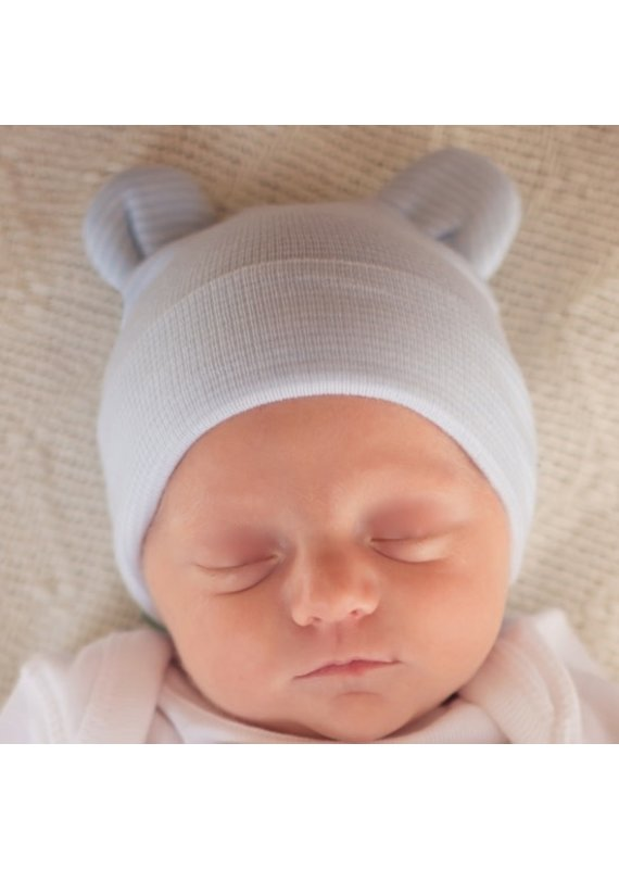 IlyBean Blue White Striped Bear Newborn Hospital Hat