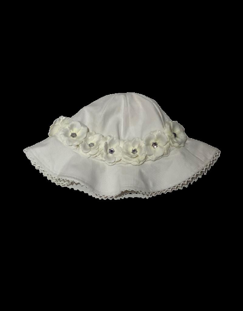 Stella Sun Hat with Mini Rose Crown White