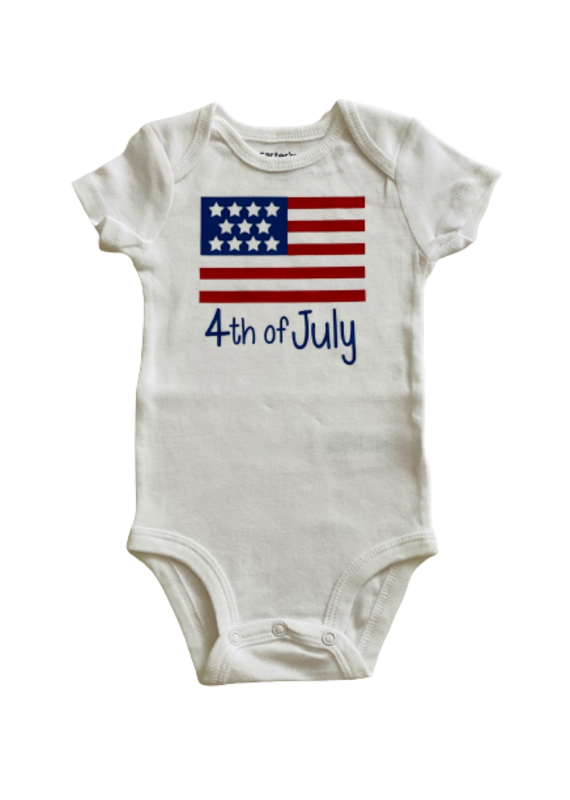 Flag 4th of July Short Sleeve Onesie