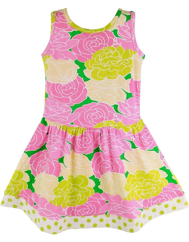 Pink Green Bouquet Floral Knit Swing Dress
