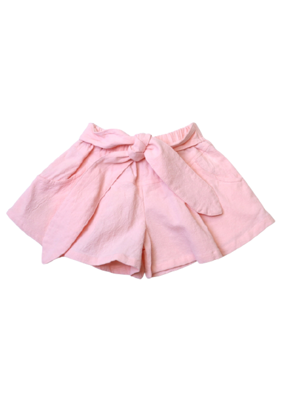 Doe a Dear Pink Tie Front Flair Shorts