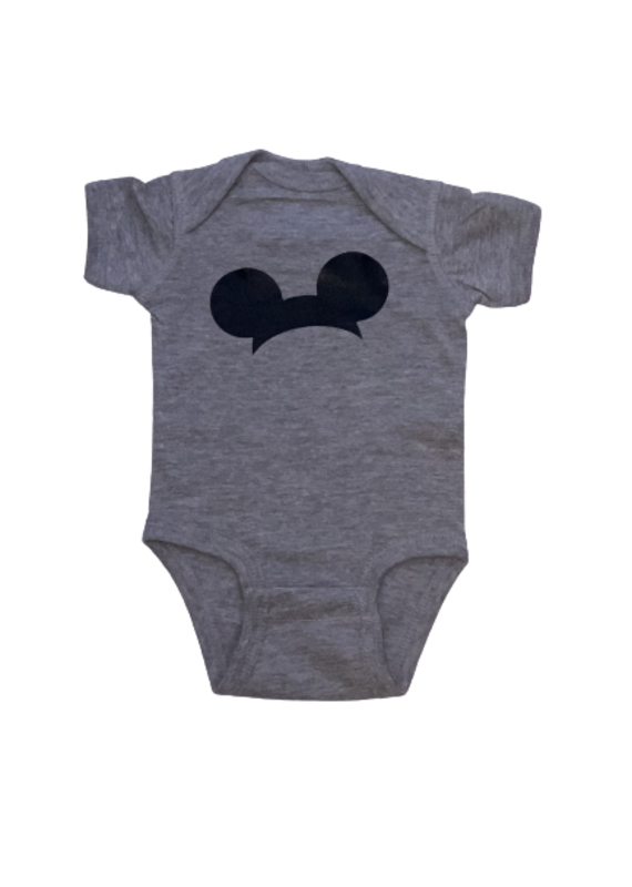 Mickey Ears Gray Short Sleeve Onesie