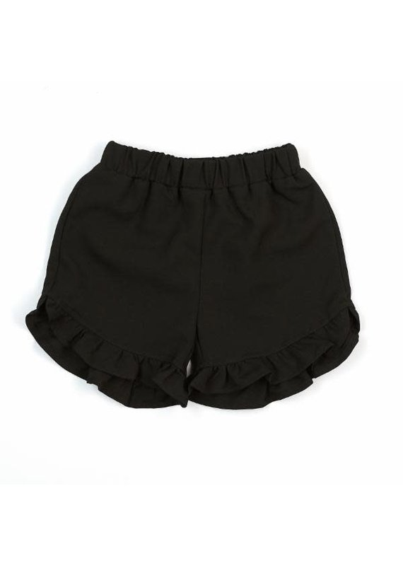 Doe a Dear Black Elastic Waist Ruffle Hem Shorts