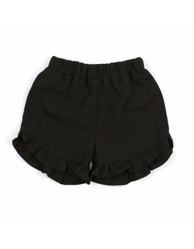 Doe a Dear Navy Elastic Waist Ruffle Hem Shorts