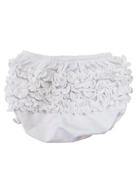 White Knit Ruffled Butt Bloomer