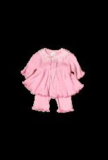 Itty Bitty Clothing Company Pink Pointelle Ruffle Dress and Pant Set