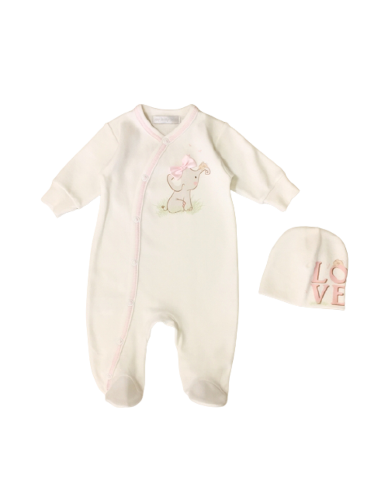 Itty Bitty Clothing Company Bow Tie Elephant Layette Pink