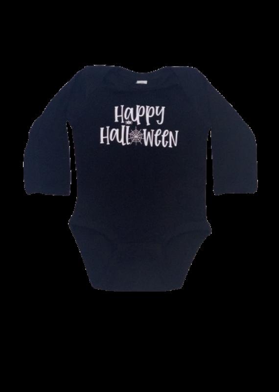 Happy Halloween Black Long Sleeve Onesie