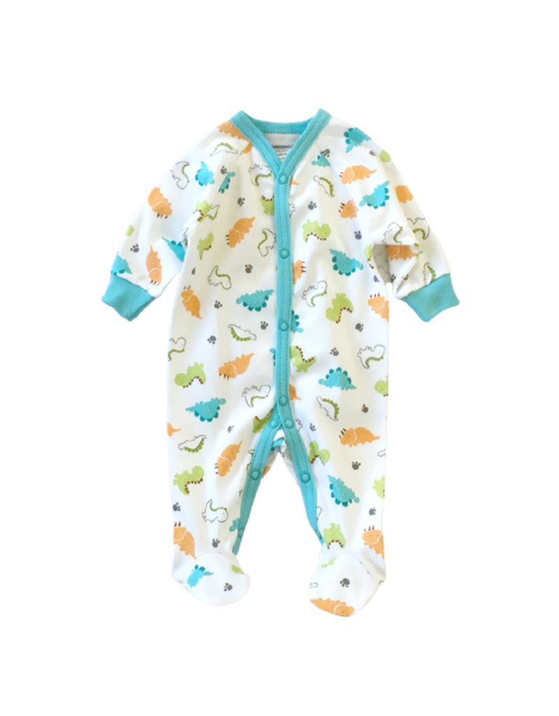 Itty Bitty Clothing Company Dino Front Snap Footie Turquoise