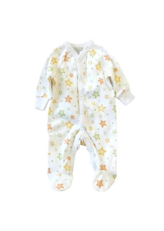 Itty Bitty Clothing Company Front Snap Footie Twinkle White