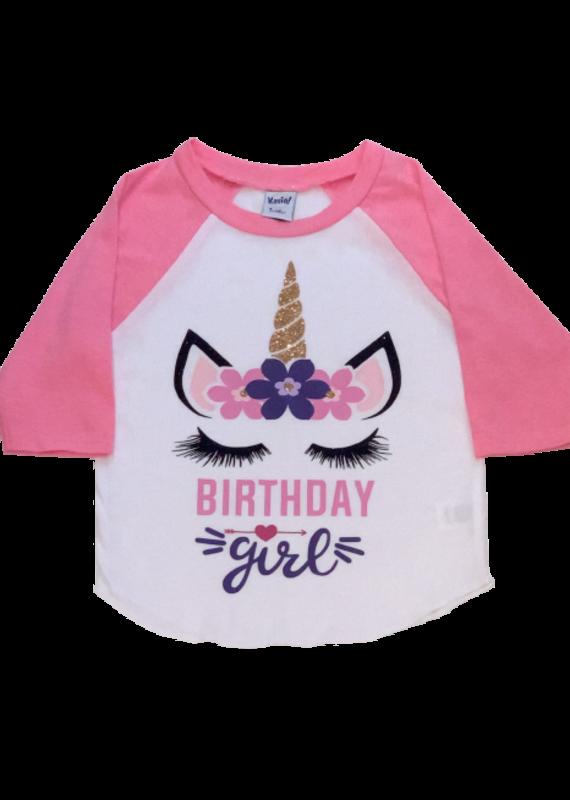 Birthday Girl Unicorn Pink Baseball Tee