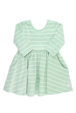 Tea Green and Ivory Stripe Twirl Dress