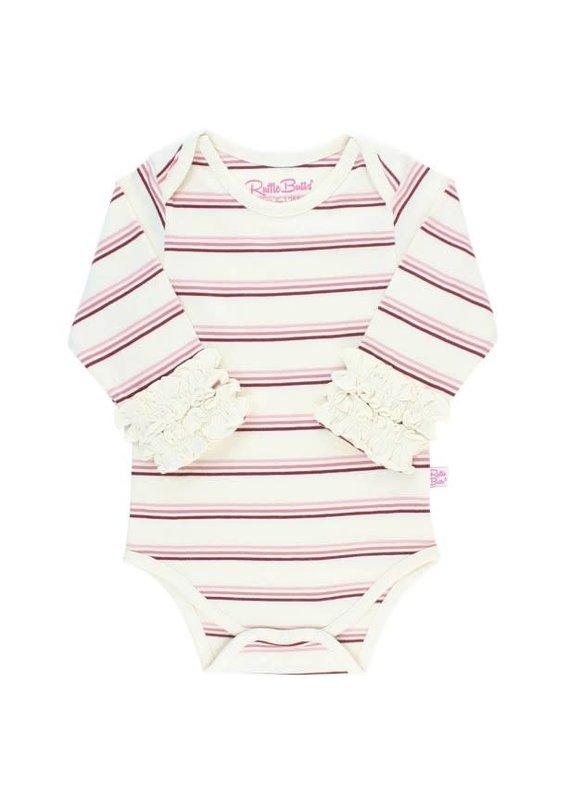Rosy Lane Stripe Ruffled Long Sleeve Onesie