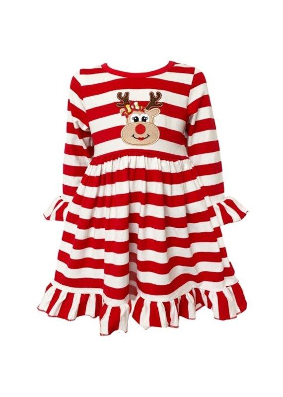 Red Stripe Christmas Rudolf Swing Dress