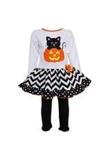 Halloween Knit Pumpkin & Kitten Dress Legging Outfit