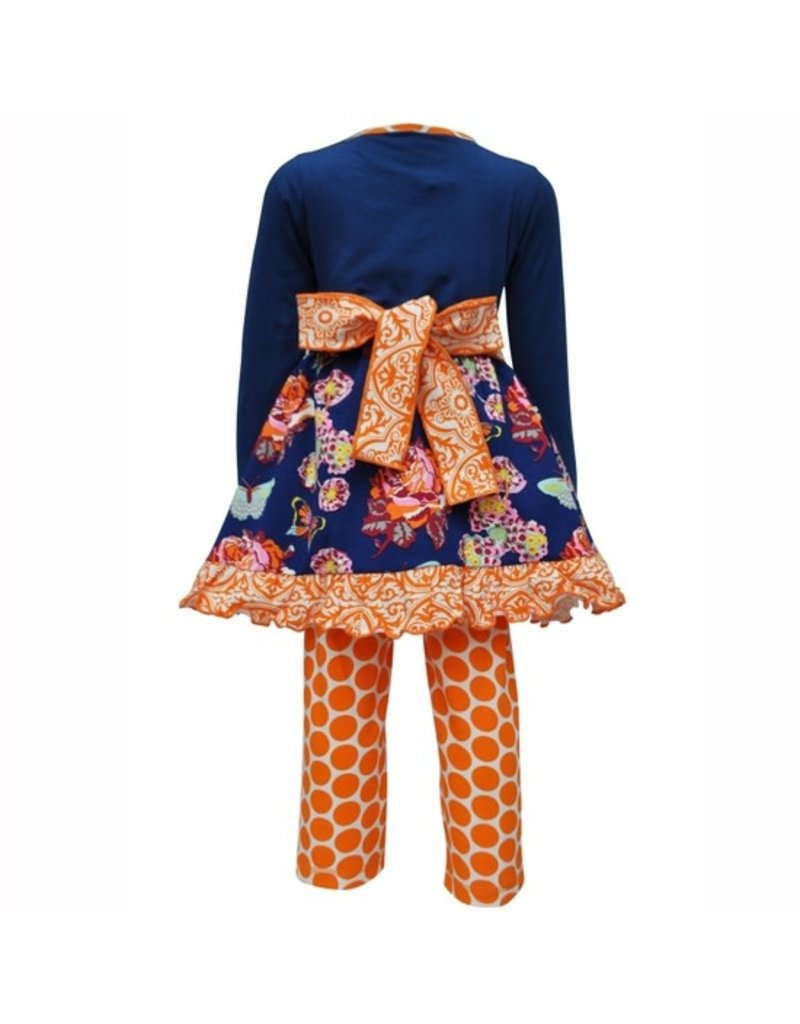 Autumn Floral Dress And Polka Dot Legging Outfit