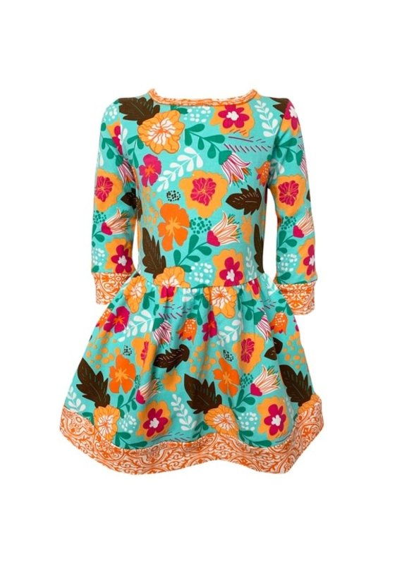 Autumn Leaves Floral Holiday Swing Dress