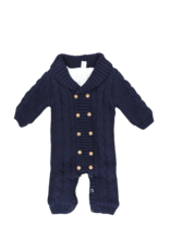 Marie Nicole Clothing Navy Button Sweater Sherpa Romper