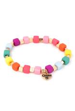 CHARM IT! Gold Multi Cube Stretch Bead Bracelet