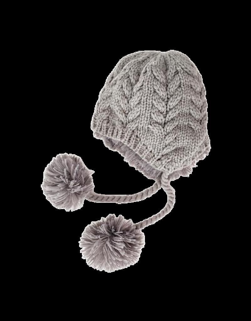 Soft Grey Cozy Earflap Beanie Hat