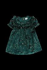 Marie Nicole Clothing Emerald Starry Night Velvet Ruffle Dress Infant