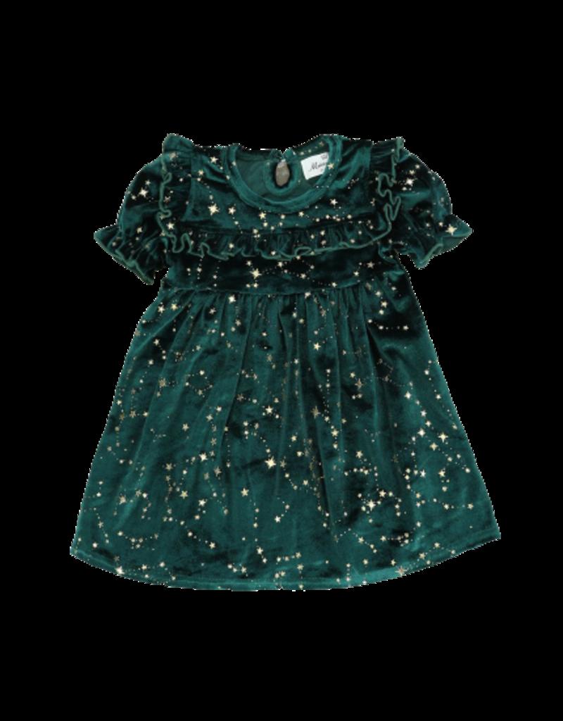 Marie Nicole Clothing Emerald Starry Night Velvet Ruffle Dress Toddler