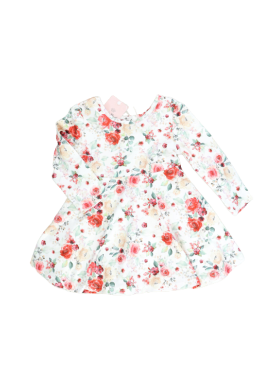 Marie Nicole Clothing Pink & White Rose Swing Dress